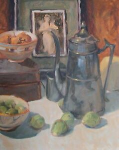 Pewter-Tea-Pot-Food-Wine-Still-Life-Impressionism-Orig-Oil-Painting-M-Aycock
