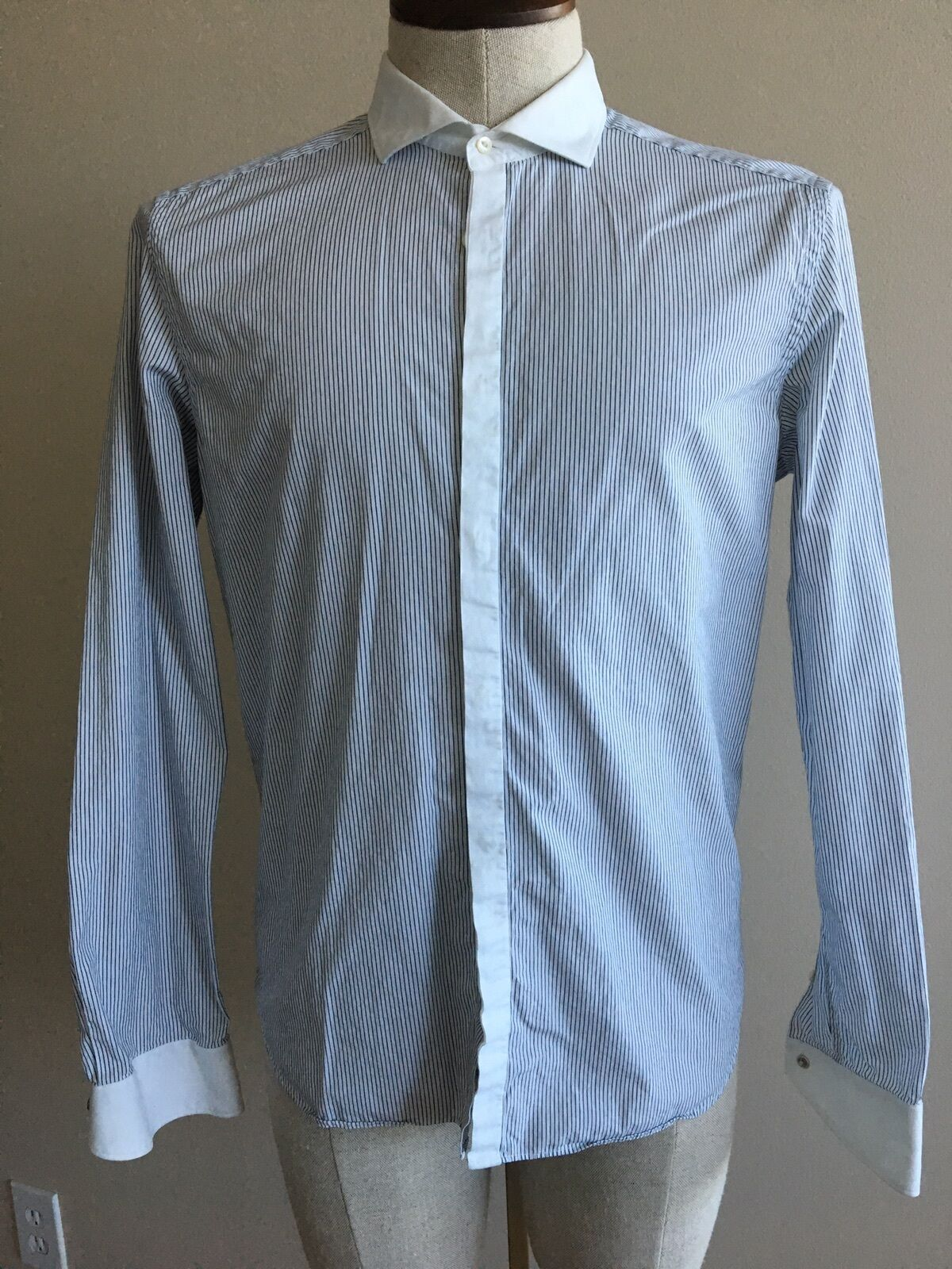 Corneliani Trend Contrast Collar Pinstripe Dress Shirt 16 41