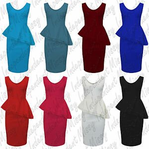 Womens-Ladies-Sleeveless-Side-Slant-Frill-Front-Peplum-Bodycon-Dress-8-22