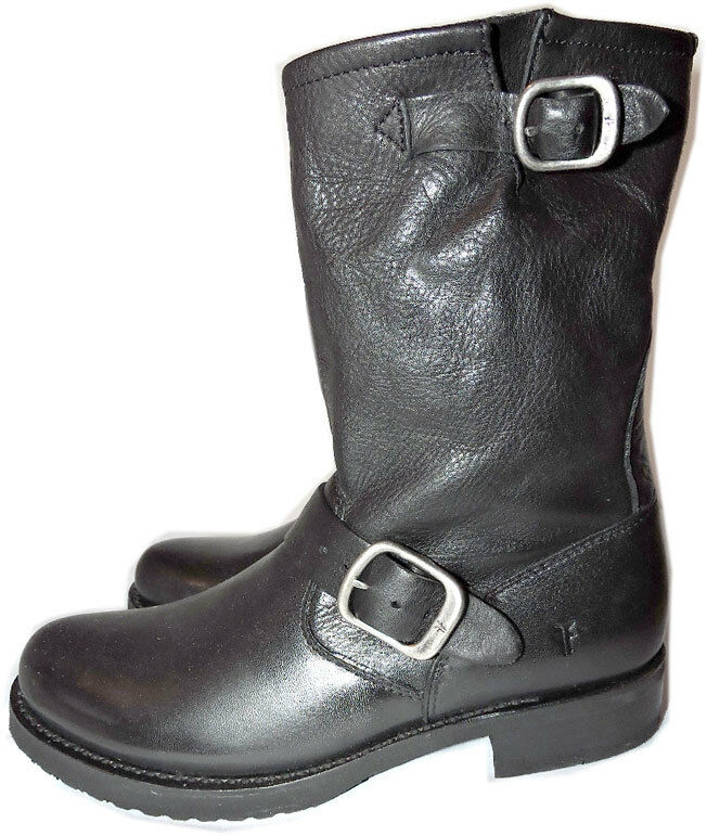 298 Frye Veronica Shortie Slouchy Boots Black Leather Moto Biker Booties 6