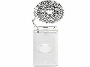 Steel-Ball-Neck-Chain-ID-Card-amp-Enclosed-ID-Card-Holder
