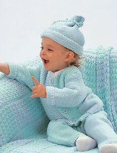215e78f4e KNITTING Pattern- Baby garter Stitch-cardigan-hat-pants in 4ply ...