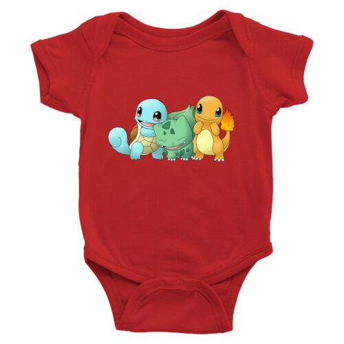 Infant Baby Boy Girl Rib Bodysuit Clothes Print Cute Starter Bulbasaur Squirtle