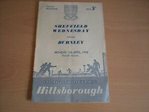 Sheffield-Wednesday-V-Burnley-Mon-7-4-1958-Football-Programme-League-Div-1