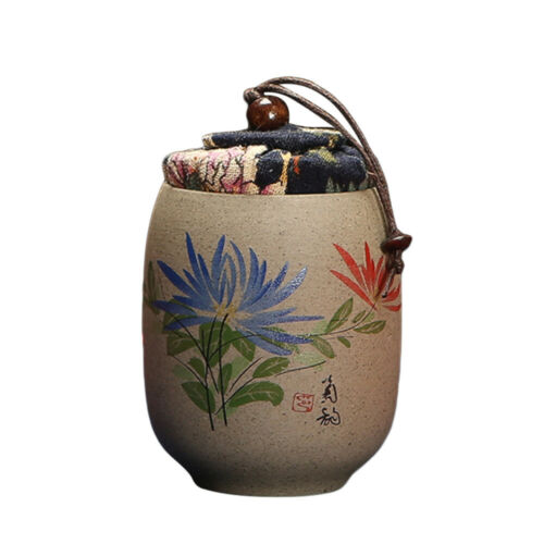 Coarse Pottery Tea Jar Chinese Painting Sealed Canister Coffee Storage Container