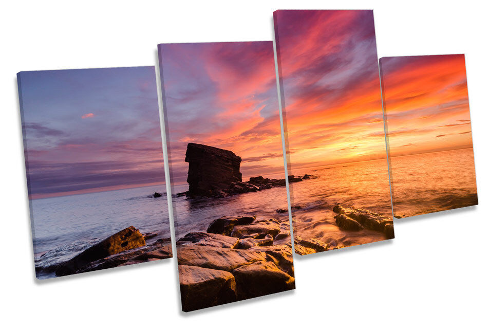 Collywell Bay Northumberland SUNSET SUNSET SUNSET Multi Canvas Wall Art Print Picture 0e1a6d