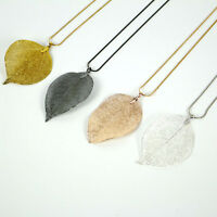 Fashion Alloy Real Dipped Skeleton Leaf Leaves Filigree Pendant Necklace 4Colors