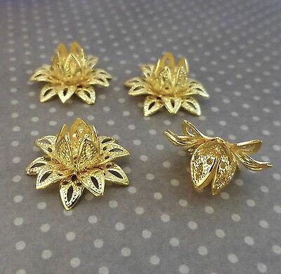 Gold Tone Brass Flower Bead Cap - Pack of 8