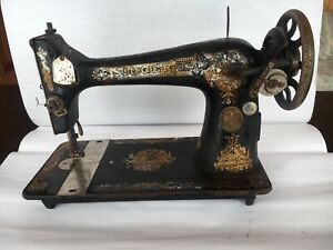 Vintage-Sphinx-Singer-Treadle-Sewing-Machine-Gold-Ornate-Graphics-FOR-PARTS