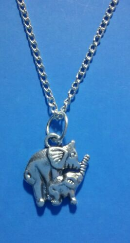 Tibetan Silver MOTHER /& BABY ELEPHANT Pendant with Necklace-Gift//PRESENT FAMILY