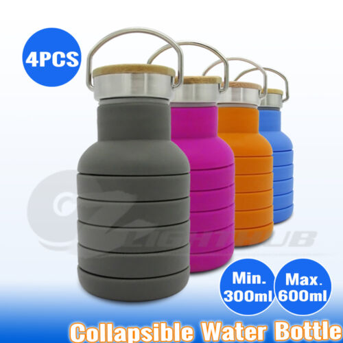4x Collapsible Sport Office Water Bottle Cycling Gym Camping School Cup Kettle