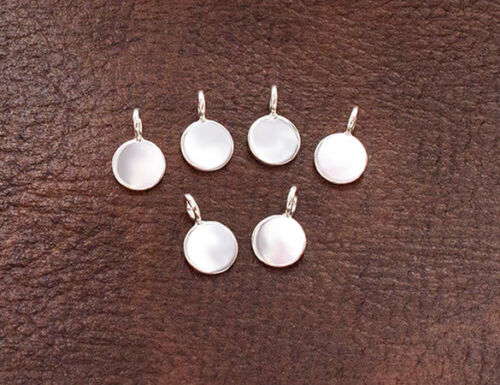 Argent Sterling 925 6 Round Tag Charms 6 mm Polish Finition
