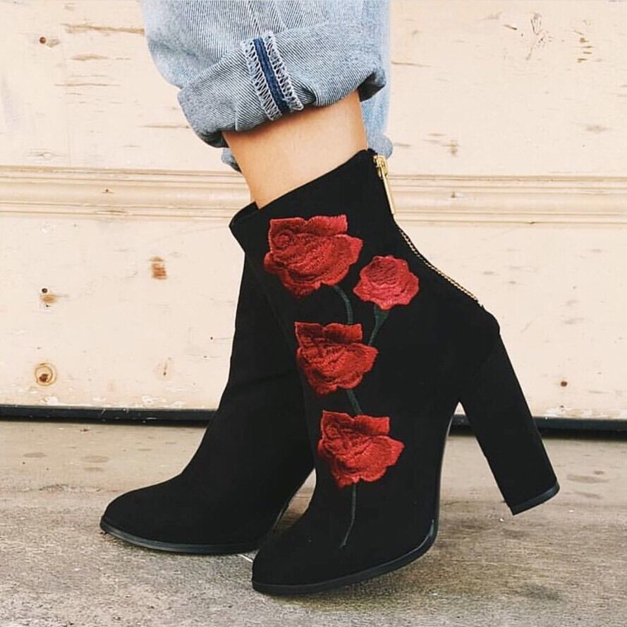 LF Intentionally Blank black  Rosa Embroidered Suede Boot 220 sz 39 (US9)