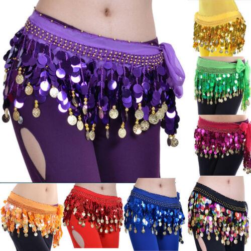 Dancing Coin Chain Belly Dance Sequin Hip Skirt Scarf Wrap Belt Waistband OE#