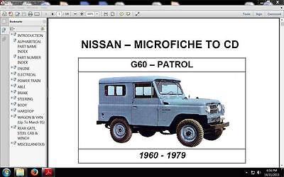Nissan  G60 Patrol  1960-1979 parts book on CD