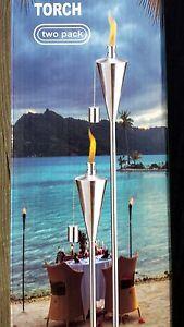 2Pack-Garden-Lantern-59-034-150cm-Stainless-Steel-Tiki-Torches-Oil-Lamp-Patio-CONE