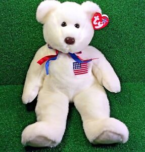 699bc530813 NEW Ty Beanie Buddy Libearty The Bear Nifty Large Oversized USA ...
