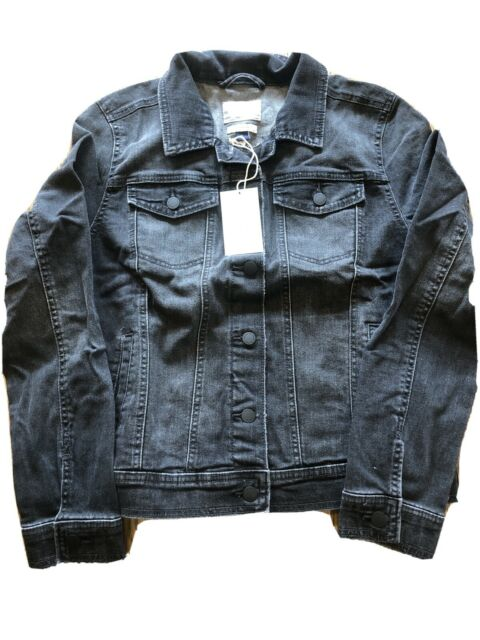 Denim Chore Trucker Jacket Universal Thread size Large Jean Bleach Dye splatter