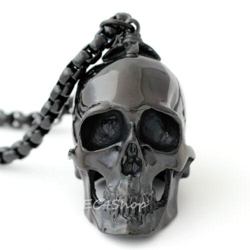 """Men HUGE Heavy Black Skull Stainless Steel Biker Pendant 24/"""" 6mm Necklace Chain"""