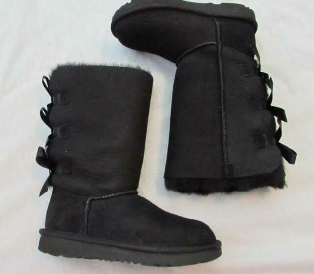 1c3ad81d3227 UGG Australia Youth Bailey Bow Tall 7309y Girl s Black BOOTS 3 for ...