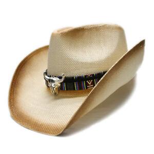 Summer Straw Beach Wide Cowboy Western Cowgirl Sun Hat Bull Head ... b4c064e314a7