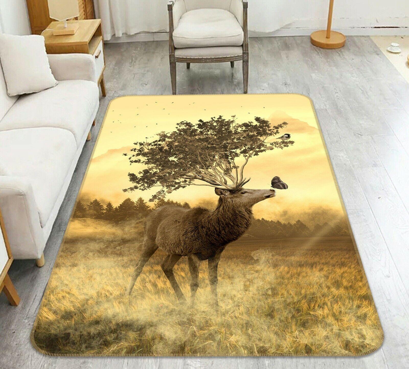 3d Hirsch Prairie a118 animale gioco antiscivolo tappeto elegante foto TAPPETO Wendy