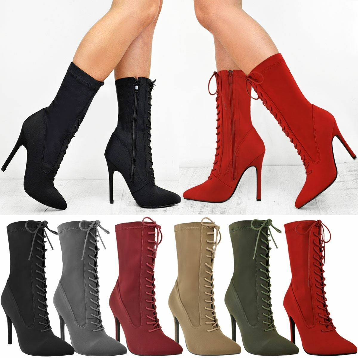 Womens Ladies Lace Up High Heel Stiletto Stretchy Lycra Ankle Boots shoes Size