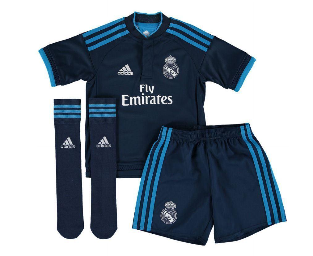 ADIDAS Real Madrid JUNIOR MINI KIT Navy Bambini Calcio in Kit Completo Pantaloncini Nuovo