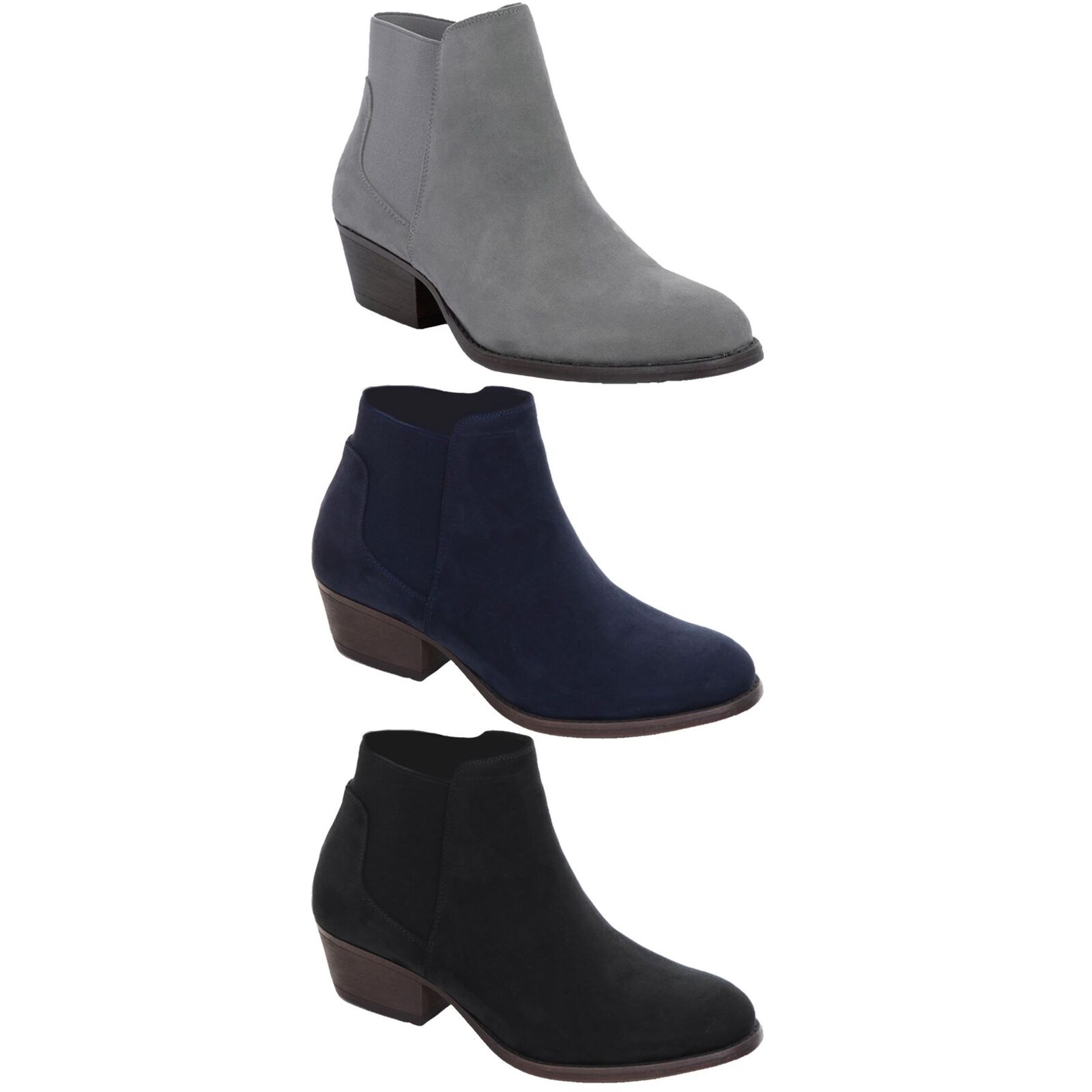 Ladies Low Chunky Block Heel Elasticated Faux Suede Chelsea Ankle Boots