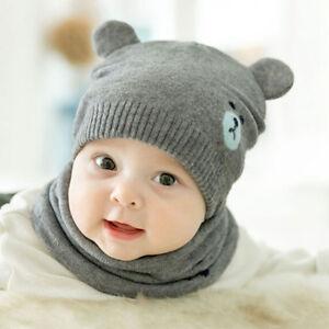 0d78a888112 2pcs set Baby Kids Boys Girls Knitted Hat Cap Winter Warm Hat+Neck ...