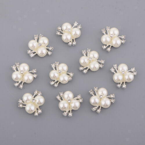 10x Perle Strass Dos Plat Fleur Boutons mariage Embellissements Craft