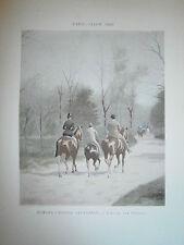 Gravure 19° 1899 couleur Peinture E.G.Grandjean allée des Poteaux bois boulogne