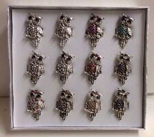 Set Of 12 Metal Owl Rings. New In Display Box. Adjustable Band. Wholesale.