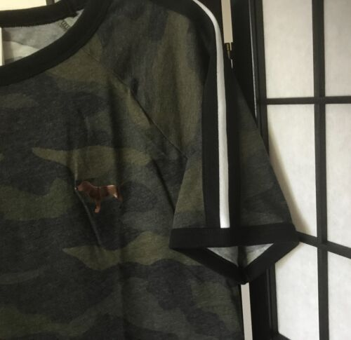 NWT VICTORIA/'S SECRET PINK GREEN CAMOUFLAGE CAMO DOG PERFECT RINGER TEE SHIRT