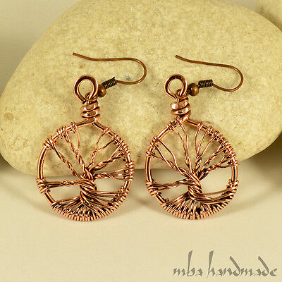 Artisan Tree Of Life Copper Wire Wrapped Handcrafted Earrings Vintage