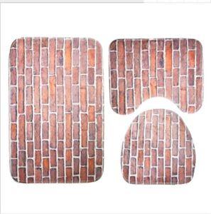 3PCS-Red-Brick-Soft-Non-Slip-Bathroom-Shower-Mat-Toilet-Floor-Rug-Carpet-Pad
