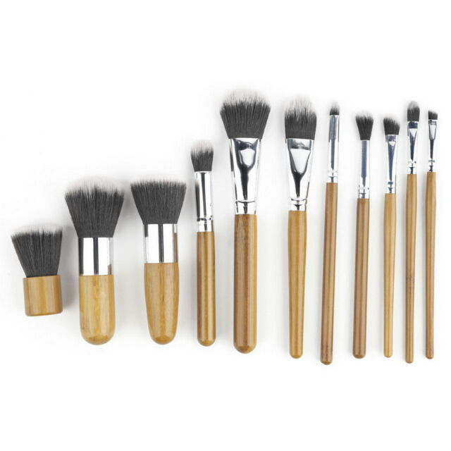 11 pcs Wood Handle Makeup Cosmetic Eyeshadow Foundation Concealer Brush Set DL