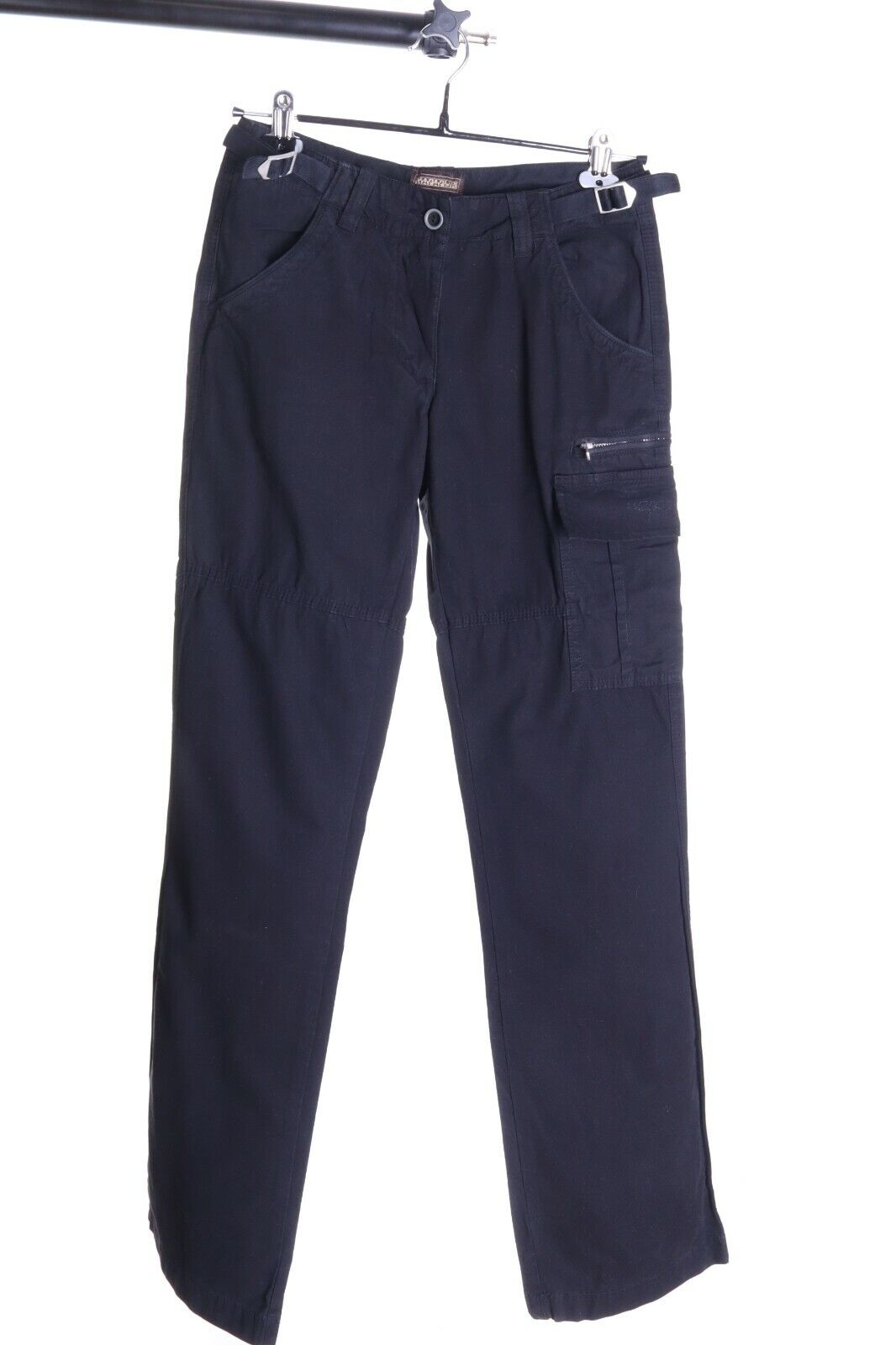 Damen Napapijri Schwarz 100% Baumwolle Cargohose Größe 40