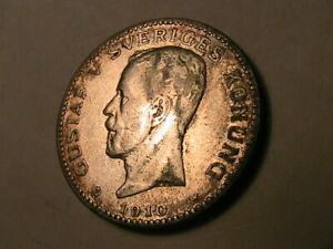 1910-SWEDEN-1-Krone-Ch-VF-Very-Lustrous-Swedish-One-Kroner-Sveriges-Silver-Coin