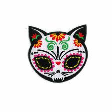 Sugar Skull Cat with flower Day of the Dead Dios De Los Muertos Biker Patch
