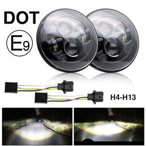 DOT-E-Approved-7-034-inch-LED-headlights-x2-for-Land-Rover-Defender-RHD-7-034-90-110