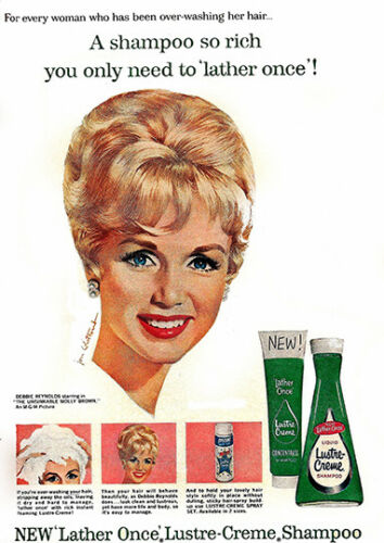 Lustre Creme Wall art. poster Reproduction Debbie Reynolds Shampoo advert
