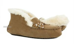 6f8b977f77f Details about UGG Alena Brilliant Chestnut Bling Fur Suede Slippers Womens  Size 9 *NIB*