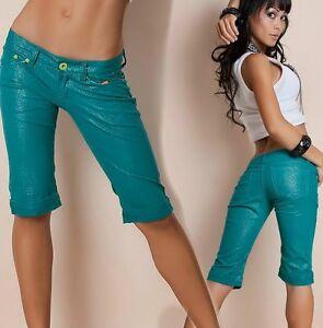 Sexy-Damen-Pant-Bermuda-Short-Capri-Hueft-Hose-petrol-glitzer-gold-32-34-36-38-40