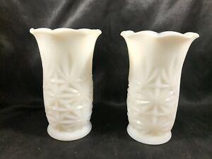 Pair of Vintage Milk Glass Hazel Atlas Snowburst Vases