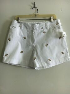 NWT-TAHITI-REEF-CLUB-WOMEN-WHITE-PINEAPPLE-SHORTS-SIZE-10
