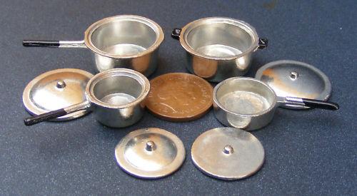 Échelle 1:12 Set de 4 en métal argenté casseroles tumdee maison de poupées miniature 259