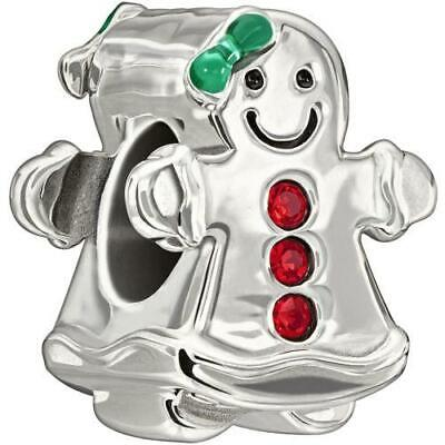 Authentic Chamilia Silver Clear Stones Frosty Glow Snowman Bead 2025-0807