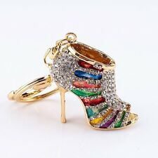 Crystal Shoe High Heel Keyring Rhinestone Purse Charm Pendant Bag Key Chain Gift