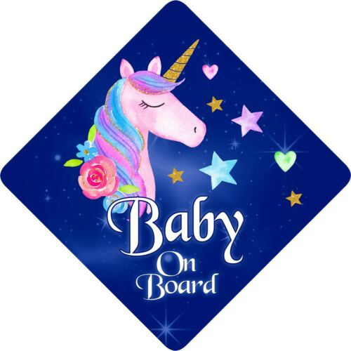 Non Personalised Child//Baby On Board Car Sign~ Unicorn Baby on Board Dark Blue